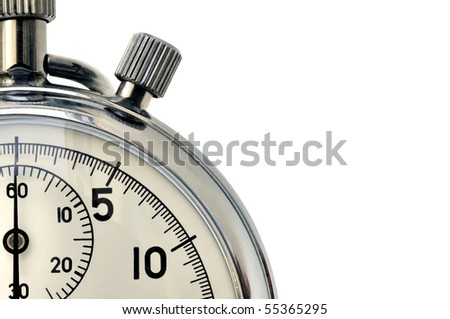 Fragment of hand mechanical stopwatch against white background