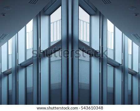 Fragment of industrial or office building interior with semitransparent windows and metal girders / supporting beams in twilight. Modern architecture in hi-tech / minimalism style. #543610348