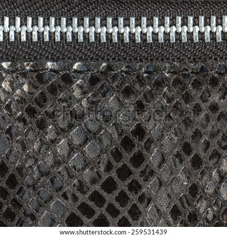 fragment of  ladies handbag imitation snakeskin closeup, zipper