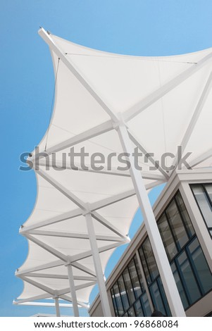 fragment of modern architecture white roof