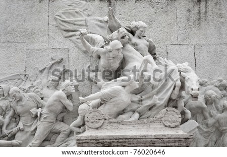 Fragment of monument to Giuseppe Mazzini, by Ettore Ferrari on the Aventine hill on December 19, 2010 in Rome, Italy