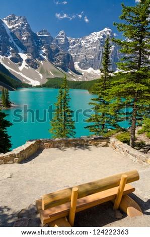 Fragment of Moraine Lake trail in Lake Louise, Alberta, Canada.