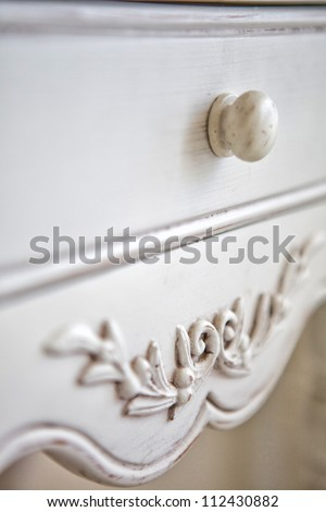 fragment of old bedside-table. pattern - stock photo