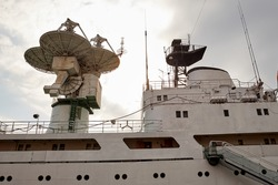 Fragment of old scientific ship. Research fleet. research vessel. Sonar. Telemetry. radio telescope with radar
