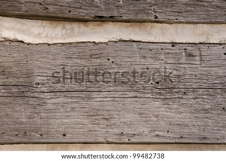 Fragment of old weathered log wall, useful as background