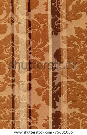 Fragment of retro colorful textile with Victorian stile patten - stock photo