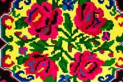 Fragment of Romanian folk seamless patterns. Romanian traditional embroidery. Ethnic texture design. Traditional carpet design. Rustic carpet design,
