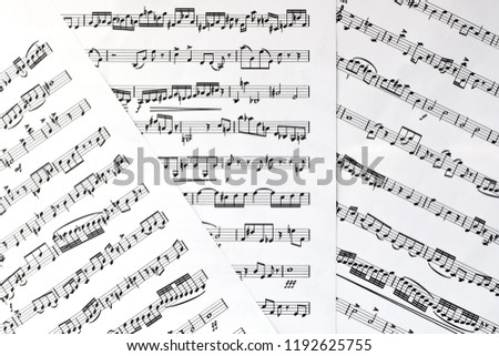 Fragment of sheet with musical notes closeup