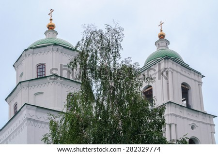 Fragment of the  Church of Descent of Holy spirit in Chelyabinsk region in Russia, closeup