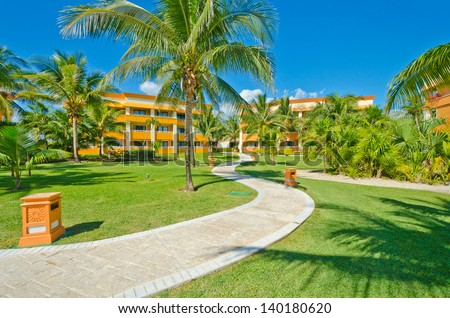 Fragment of the colorful luxury caribbean resort hotel building. Bahia Principe, Riviera Maya.