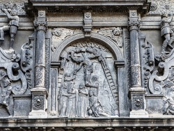 Fragment of the exterior of Chapel of Boim in Lviv, Ukraine. Decoration of facade of Chapel of Boim. It's a part of Lviv's Old Town, a UNESCO World Heritage Site.