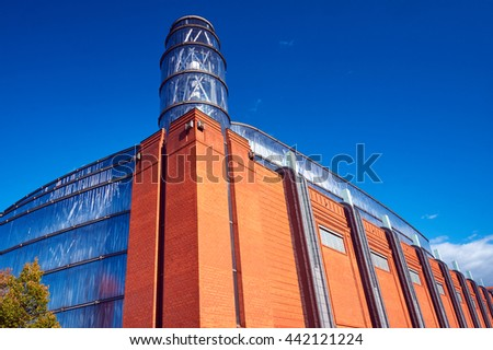 Fragment of the facade of the Old Brewery in Poznan Zdjęcia stock ©