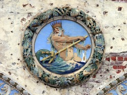 Fragment of the Historical Childs Restaurant Building in Coney Island, Neptune holding a trident, and dripping with seaweed