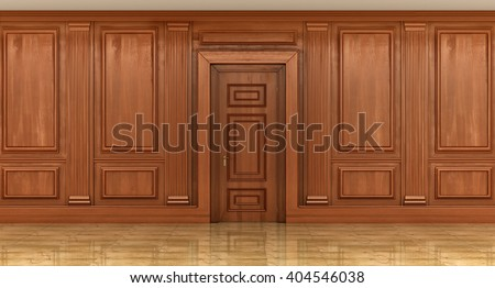 Fragment of the interior of classic wood panels on the wall. decor element, 3d illustration