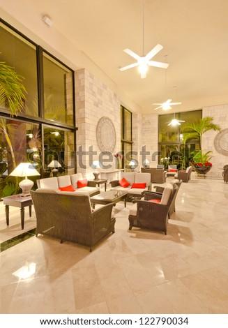 Fragment of the lobby of the five stars luxury caribbean resort hotel. Lounge area. Interior design. Bahia Principe, Riviera Maya, Mexican Resort.