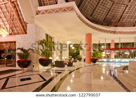 Fragment of the lobby of the five stars luxury caribbean resort hotel. Reception area. Interior design. Bahia Principe, Riviera Maya, Mexican Resort.