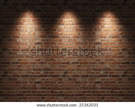 Fragment of the shined  brick wall