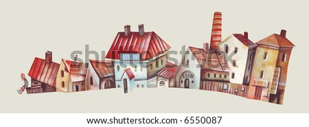 Fragment of town quarter. Illustration by Eugene Ivanov.
