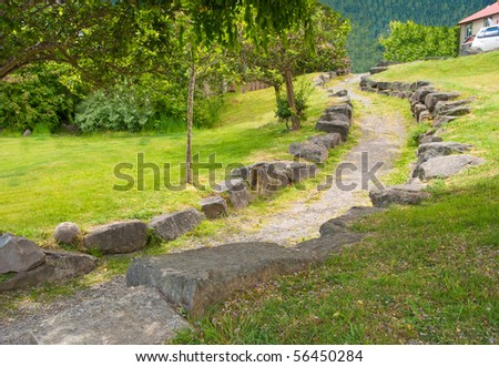 Fragment of trail in park at Salt Spring Island, British Columbia, Canada.