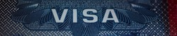 Fragment of USA visa Head (cap) in Passport. Close up, macro wide shot.