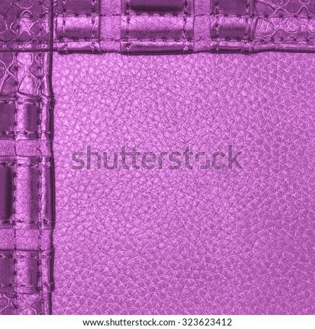 fragment of violet leather ladies handbag