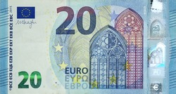 Fragment part of 20 euro banknote close-up with small blue details