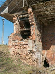 fragments from old mills, buildings collapsed, Perles mill, Druviena, Latvia