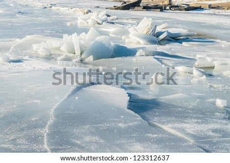 Fragments of ice frozen sea. Photo Close-up