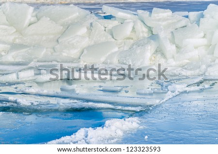 Fragments of ice frozen sea. Photo Close-up - stock photo