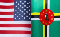 fragments of the national flags of the United States and the Commonwealth of Dominica close-up