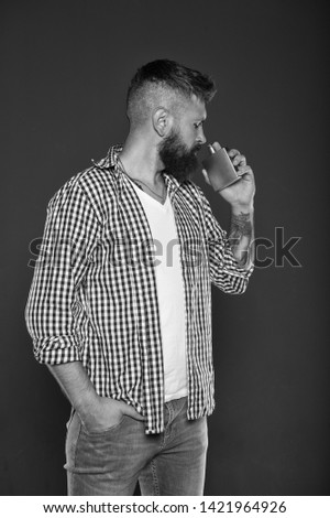 Fragrance for brutal hipster. Fashion and beauty treatment. Masculine fragrance for brutal guy. Masculinity concept. Perfume male fragrance. Smell fragrance. Man bearded handsome hold bottle perfume. #1421964926