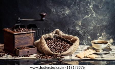 Fragrance of vintage brewing coffee