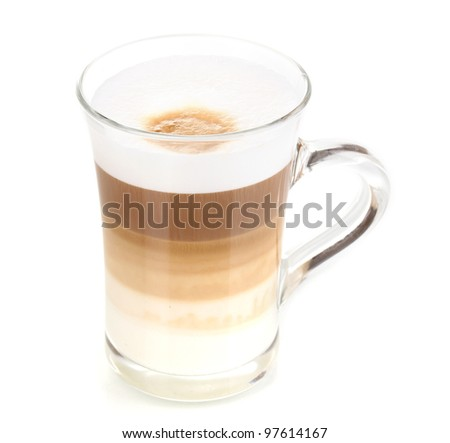 Fragrant ?appuccino latte in glass cup isolated on white