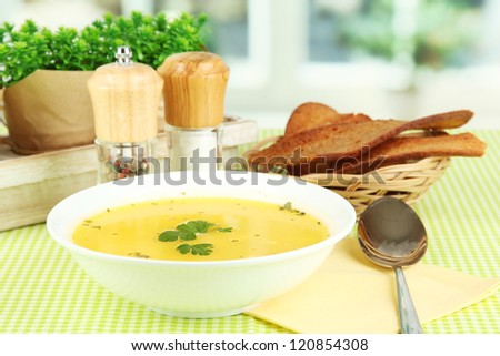 Fragrant soup in white plate on green tablecloth on window background close-up