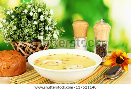 Fragrant soup in white plate on table on natural background close-up
