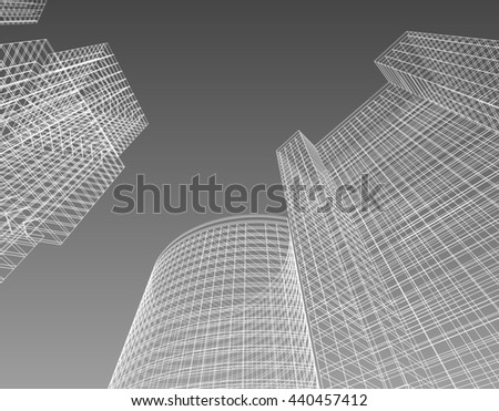 frame, architecture abstract, 3d illustration