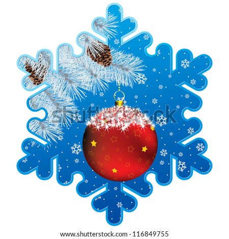 frame as showflake with christmas decor, fir branch and snowflake background