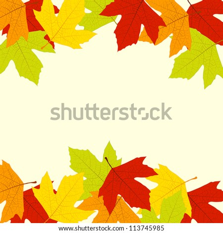 Frame - background, autumn multi-colored leave, with space for text . Square form.