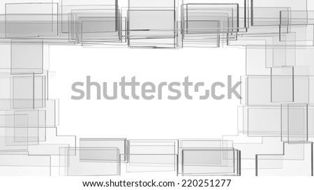 frame build of many irregular glass blocks isolated on white