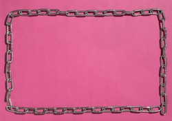 Frame chain, pink background. Locked. Lockdown. Framed and Chained. Pink prison.
