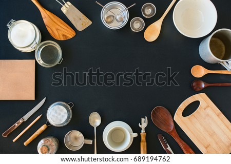 Frame Composition Kitchen Accessories Preparation Cooking Black Table Wooden Metal Dishes Ware Different Support Stuff Top View Flat Lay Copy Space