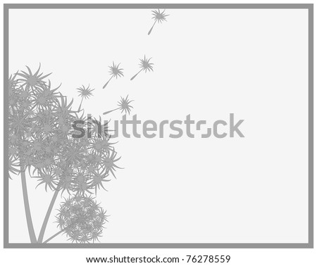 Frame consisting of the outline of a bouquet of dandelions are losing their seeds