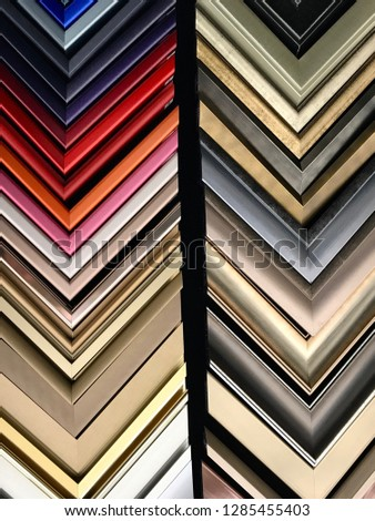 Frame Corner Chevrons in Bright Colors and Metallic Sheen and Gilt #1285455403