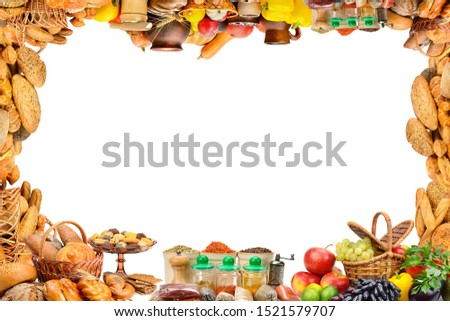 Frame different products - vegetables, fruits, bread products, spices isolated on white. Big size. Foto stock ©