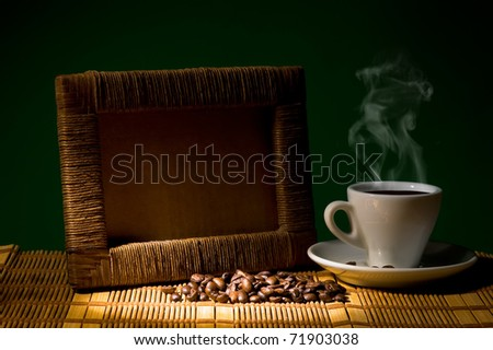 frame for photo with cup and coffee beans