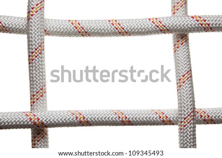 Frame formed by rough cross ropes isolated on white