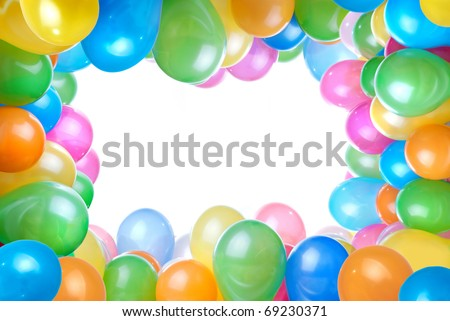frame from color balloons isolated on white
