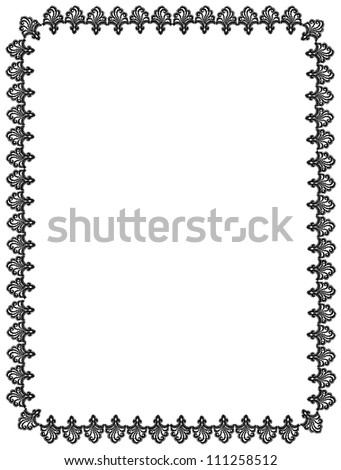 frame from vintage pattern lace. black ornament on white background