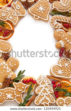 Frame Gingerbread cookies on the white background