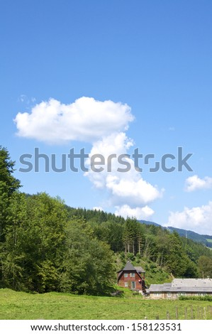 Frame house in the village Brunnbach at Grossraming in Upper Austria. Here is one of the largest forest areas of Austria